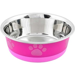 Fuchsia With Pink Print - Non-Skid Bonded Stainless Steel Bowl 2Qt