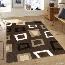 "Allstar Brown Modern Geometric square design Area Rug (3' 9"" x 5' 1"")"
