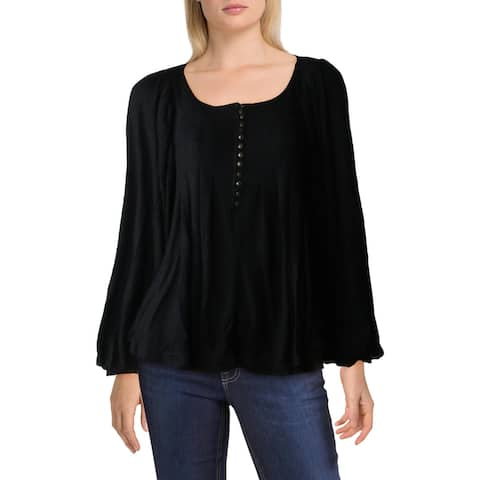 Free People Devin Pleated Blouson Sleeve Button Down Henley Top