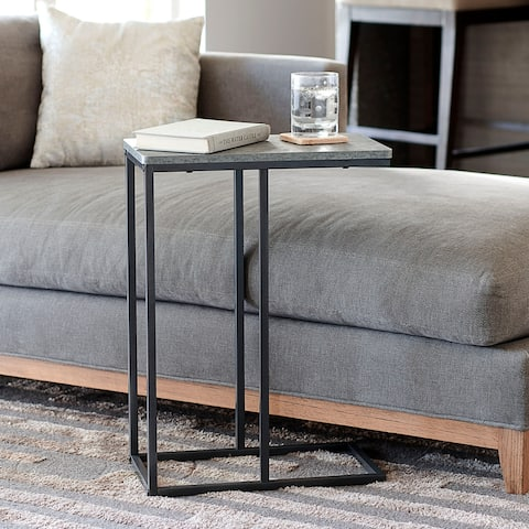 Household Essentials Modern Minimalist Side Table with Metal Frame, Gray Stone