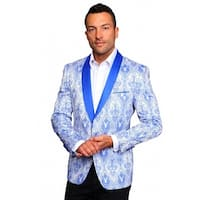 MZS-240 BLUE Men's Manzini Fancy 1 button Paisley design Woven, sport coat with satin collar