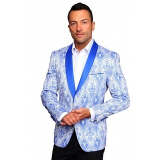 MZS-240 BLUE Men's Manzini Fancy 1 button Paisley design Woven, sport coat with satin collar