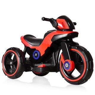 Costway Kids Ride on Motorcycle 6V Bicycle 3 Wheels Electric Battery Powered Toy w/ MP3 - Red