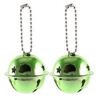 Unique Bargains Christmas Tree Accent Green Cut out Star Hole 40mm Dia Ring Bell Xmas Gift 2 Pcs