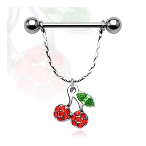 "Surgical Steel Nipple Shield with Multi Gem Cherry Dangle- 14GA 3/4"" Long (Sold Individually)"