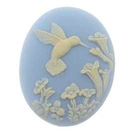Vintage Style Lucite Oval Cameo Blue With Ivory Hummingbird And Flowers 40x30mm