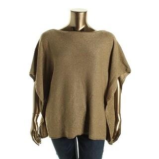 Lauren Ralph Lauren Womens Plus Metallic Linen Blend Poncho Sweater - 1X