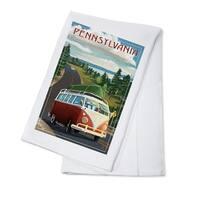 Pennsylvania - VW Van & Lake - LP Artwork (100% Cotton Towel Absorbent)