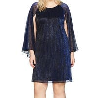 Calvin Klein Blue Womens Size 20W Plus Shimmer Cape Sheath Dress