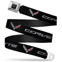 C7 Full Color Black Corvette C7 Logo Black Silver Red Webbing Seatbelt Belt Seatbelt Belt