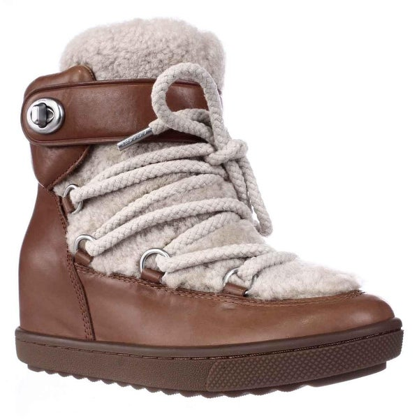 Coach Monroe Shearling Lace Up Wedge Booties, Saddle/Natural