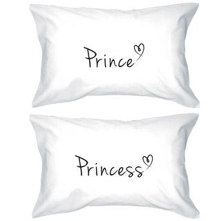 Prince and Princess Pillowcases 300 Thread Count Matching Couple Pillowcases