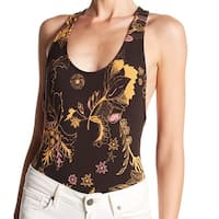 Free People Brown Floral Printed Women Large L Knit Top Bodysuit