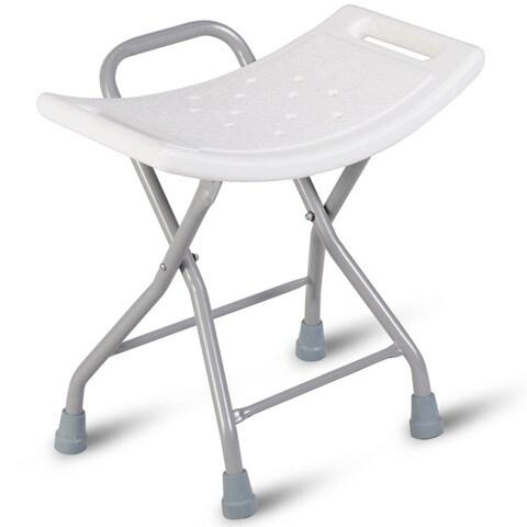 Gymax Folding Shower Chair Medical Bath Bench Bathtub Stool Seat Heavy Duty Non-slip