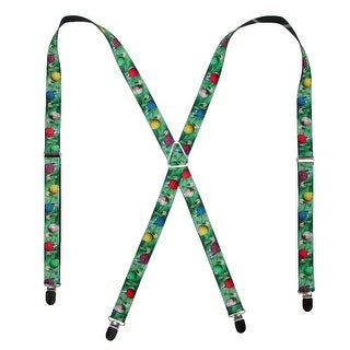 Buckle Down Women's Elastic Decorated Christmas Tree Holiday Suspenders - Green - One Size