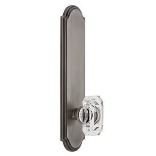 Grandeur ARCBCC_TP_PRV_234_LH  Arc Solid Brass Tall Plate Rose Left Handed Privacy Door Knob Set with Baguette Clear Crystal
