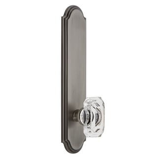 Grandeur ARCBCC_TP_PRV_234_RH  Arc Solid Brass Tall Plate Rose Right Handed Privacy Door Knob Set with Baguette Clear Crystal