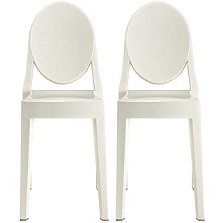 2xhome -Set of 2, Standard Size - White Plastic Dining Chairs Modern