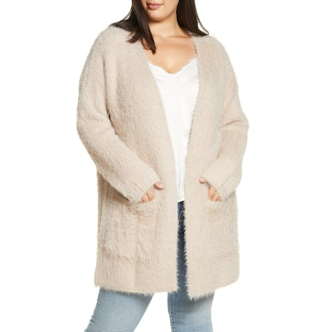 Sanctuary Women's Sweater Beige Size 2X Plus Cardigan Fuzzy-Knit
