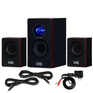 Acoustic Audio AA2103 Home 2.1 Speaker System with Bluetooth and 2 Extension Cables for Multimedia