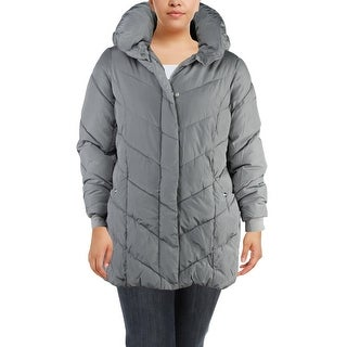 Steve Madden Womens Plus Puffer Coat Winter Quilted