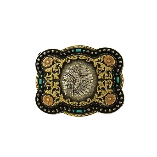 Nocona Western Belt Buckle Mens Indian Chief Skull Rectangle - 3 x 4