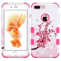 Insten Pink Spring Flowers Tuff Hard PC/ Silicone Dual Layer Hybrid Rubberized Matte Case Cover For Apple iPhone 7 Plus