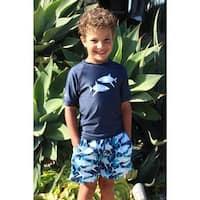 Azul Little Boys Navy Shark Zone Short Sleeve Rash Guard