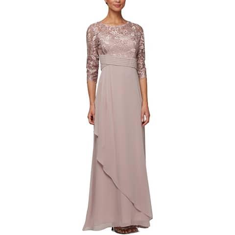 Alex Evenings Womens Petites Evening Dress Lace Formal - Rose
