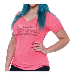 Harley-Davidson Women's Rhinestone Fame Notched V-Neck Short Sleeve Tee, Pink