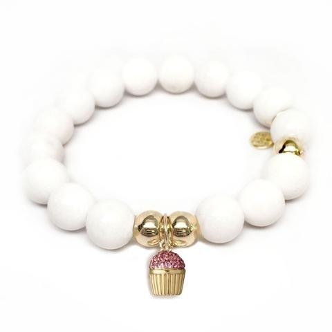 Julieta Jewelry Cupcake Charm White Jade Bracelet
