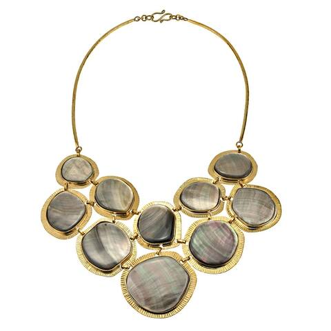 Handmade Glorious Oceans Iridescence Black Lip Shell and Brass Statement Necklace (Thailand) - Grey