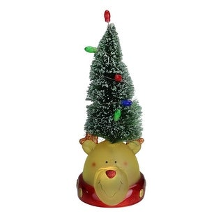 "Link to 9.5"" LED Lighted Green Tree with Smiling Bear Head Figure Similar Items in Decorative Accessories"