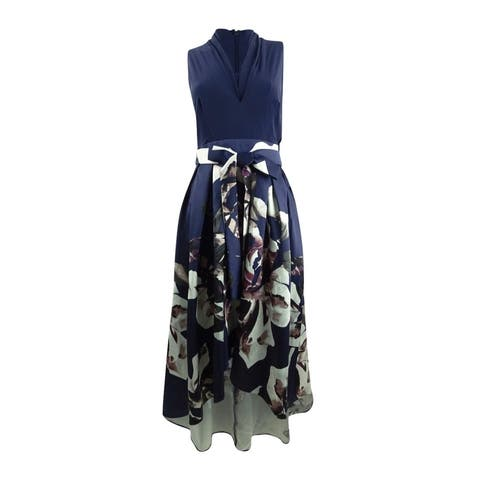 SL Fashions Women's Floral-Print High-Low Dress (8, Navy Multi)