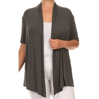 Women Plus Size Short Sleeve Jacket Casual Cover Up Gray (2 options available)