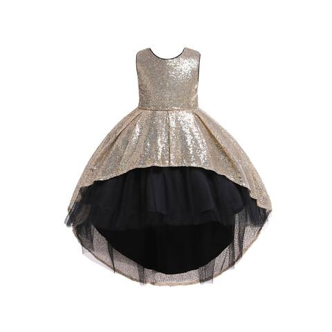 Rain Kids Big Girls Gold Sequin Hi-Low Skirt Tulle Christmas Dress