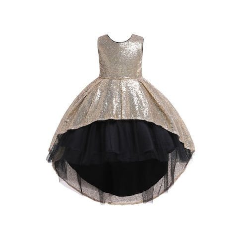 Rain Kids Little Girls Gold Sequin Hi-Low Skirt Tulle Christmas Dress