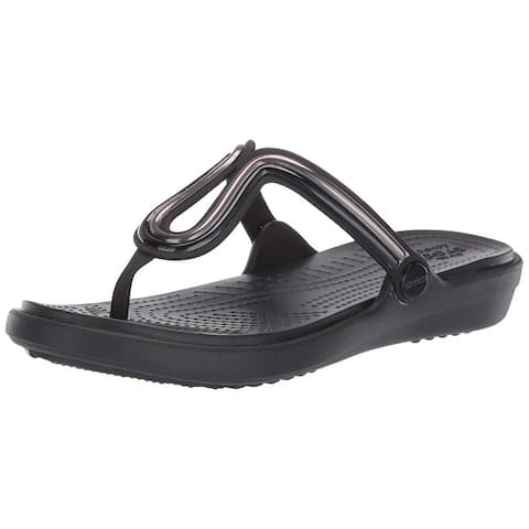 Crocs Women's Sanrah Metal Block Flat Flip Flop