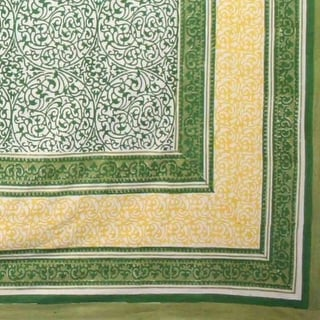 Handmade Persian Filigree Geometric Tablecloth 100% Cotton 60x90 Rectangle Green Peach Blue