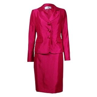 Le Suit Women's Torino Layered-Collar Pocket Slub Skirt Suit