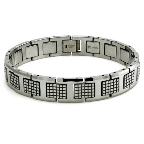 Tungsten Carbid Checkered Link Bracelet - 8.5 inches