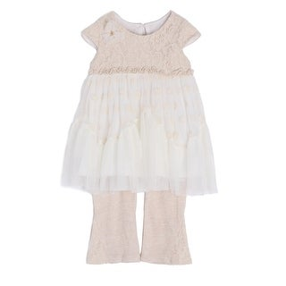 Isobella & Chloe Little Girls Taupe Lace Polka Dots Tulle 2 Pc Outfit