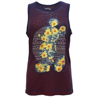Disney Men's Mickey Mouse Floral Tank Top Maroon