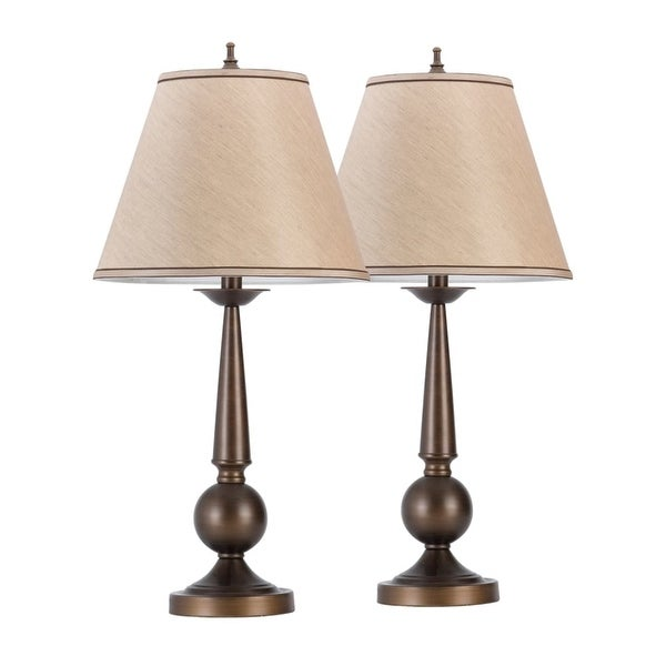 "Globe Electric 12398 2 Pack of 27"" 2-Light Table Lamps - Bronze"
