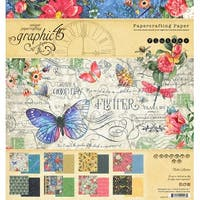 "Graphic 45 Double-Sided Paper Pad 8""X8"" 24/Pkg-Flutter, 8 Designs/3 Each"