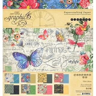 "Graphic 45 Double-Sided Paper Pad 8""X8"" 24/Pkg-Flutter, 8 Designs/3 Each"