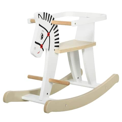 Qaba Wooden Rocking Horse Toddler Baby Ride-on Toys for Kids 3-6 Years with Classic Design & Wood Safety Bar, White