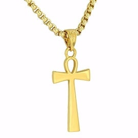 Custom Ankh Cross Pendant Solid 18K Gold Finish Free Stainless Steel 24 Inch Box Necklace On Sale
