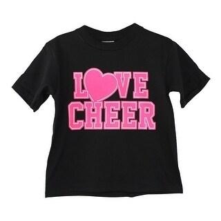 "Girls Black Neon Pink ""Love Cheer"" Writing Print Cotton T-Shirt"