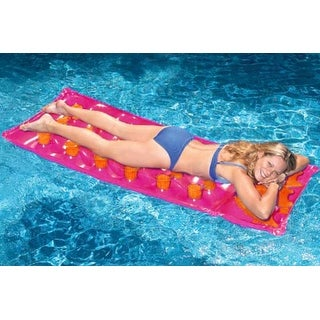 """76"""" Inflatable Pink and Orange 18-Pocket French Style Swimming Pool Air Mattress"""